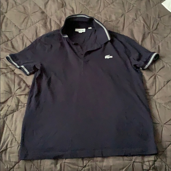 9b74261a98f5d2 Lacoste Shirts | Mens Navy Blue Shirt Sleeve Polo Large | Poshmark